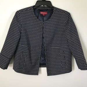 Merona Patterned Navy Blazer with Pockets, Size M